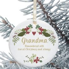 In Loving Memory Personalised Remembrance Christmas Tree Decoration - Floral Heart Design